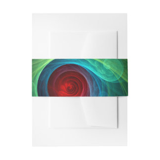 Red Storm Abstract Art Invitation Belly Band