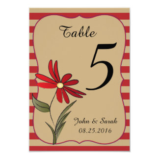 Red Striped Flowered Collection Card