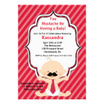 Red Striped Moustache Baby Shower Invitation