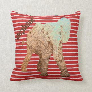 Red Stripes Baby Elephant Cushion