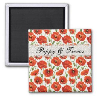 Red Summer Poppy Square Magnet