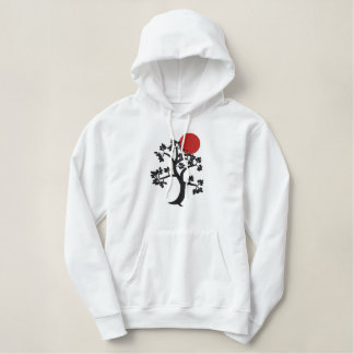 Red Sun and tree of life embroidered hoody
