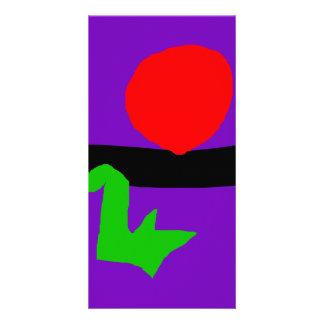 Red Sun Black Horizon Purple Sky Green Lizard Personalized Photo Card