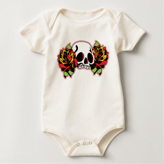red tattoo skull baby bodysuit