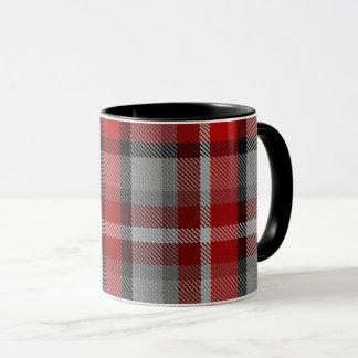 Red Taupe Grey Red Black Giant Tartan Plaid Mug