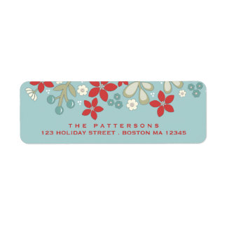 Red | Teal Christmas Poinsettia Address Label
