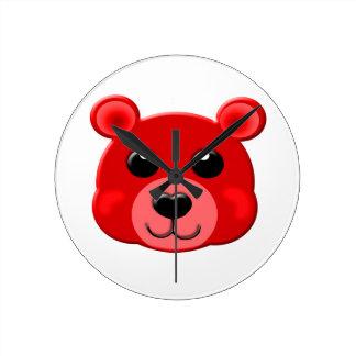 red teddy bear face wall clocks