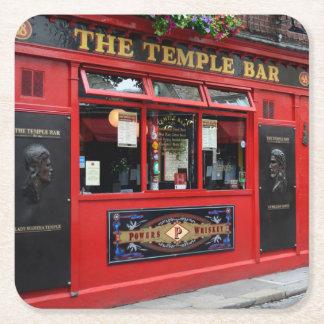 Red Temple Bar pub in Dublin Square Paper Coaster