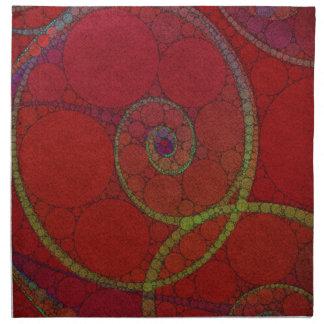 Red Textured Circle Pattern Napkin
