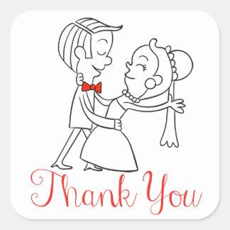 Red Thank You Bride & Groom Wedding, Black & White Square Sticker