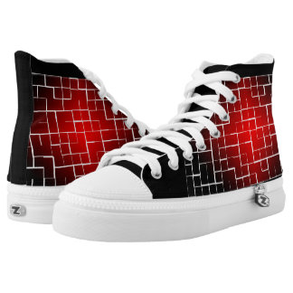 red tiles design pair of shoe printed shoes