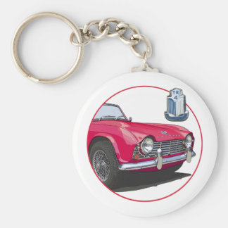Red TR4 Basic Round Button Key Ring