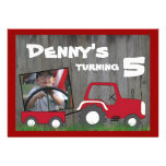 Red Tractor Birthday Invitation: Photo in Cart