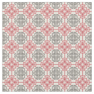 Red Traditional Geometric Chinese Decorative Patte Fabric