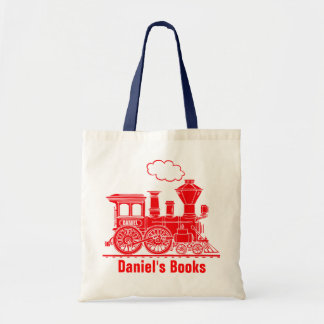 Red train kids named id library tote bag