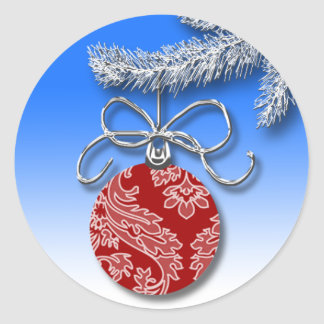 Red Tree Ball Personalizable Christmas Card Seals Round Sticker