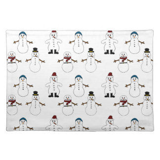 Red Trendy Placemat  white cute snowman Christmas