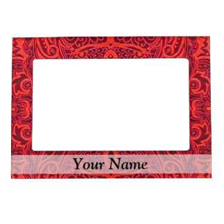 Red tribal damask pattern magnetic frame