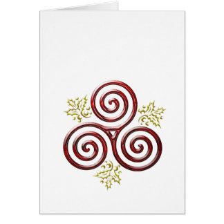Red Triple Spiral & Holly Leaves on White Note Card
