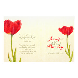 Red tulip watercolor art wedding programme