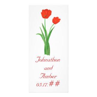 Red Tulips custom menu cards for weddings Personalized Rack Card