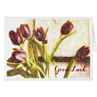 Red Tulips Good Luck Card