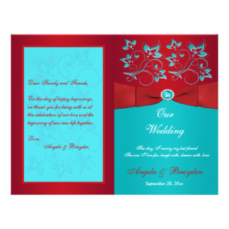 Red, Turquoise Floral Wedding Program Flyer