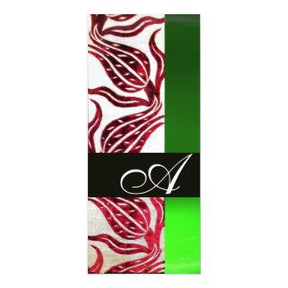 RED VELVET DAMASK TULIPS MONOGRAM Burgundy Green 10 Cm X 24 Cm Invitation Card