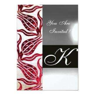 RED VELVET DAMASK TULIPS MONOGRAM Burgundy White 13 Cm X 18 Cm Invitation Card