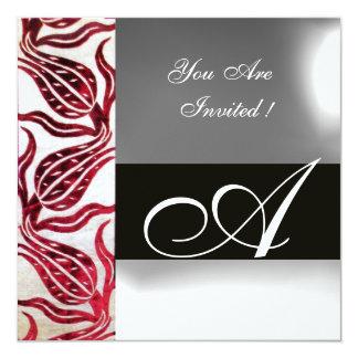 RED VELVET DAMASK TULIPS MONOGRAM Burgundy White 13 Cm X 13 Cm Square Invitation Card