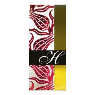 RED VELVET DAMASK TULIPS MONOGRAM Burgundy Yellow 10 Cm X 24 Cm Invitation Card