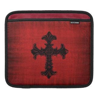 Red Velvet iPad Sleeve with Black Gothic Cross