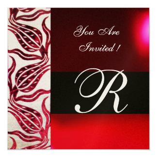 RED VELVET TULIP MONOGRAM Burgundy Champagne White 13 Cm X 13 Cm Square Invitation Card