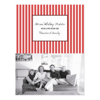 Red Vertical Festive Stripes Holiday Photo Postcard