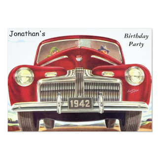 Red Vintage Auto Birthday Party 13 Cm X 18 Cm Invitation Card