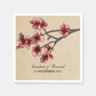 Red Vintage Cherry Blossoms Paper Napkins