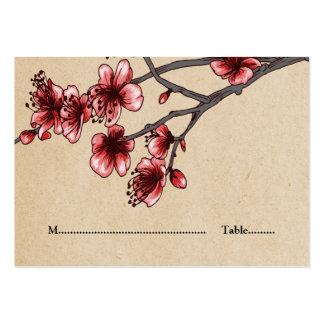 Red Vintage Cherry Blossoms Place Cards Pack Of Chubby Business Cards