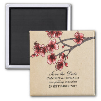 Red Vintage Cherry Blossoms Save the Date Magnet