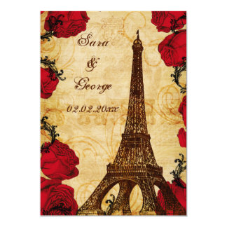 "red vintage eiffel tower Paris save the date 5"" X 7"" Invitation Card"