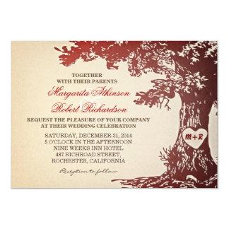 red vintage old oak tree wedding invitations
