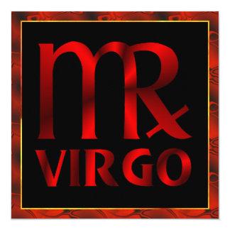 Red Virgo Horoscope Symbol Card
