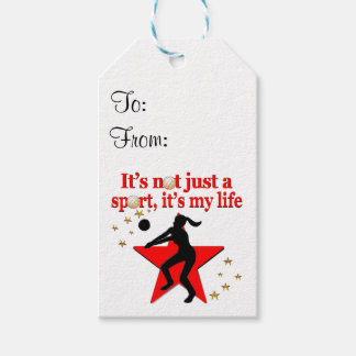RED VOLLEYBALL IS MY LIFE DESIGN GIFT TAGS