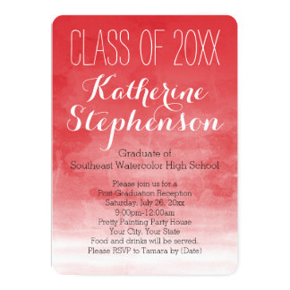 Red Watercolor Graduation Party Invitation