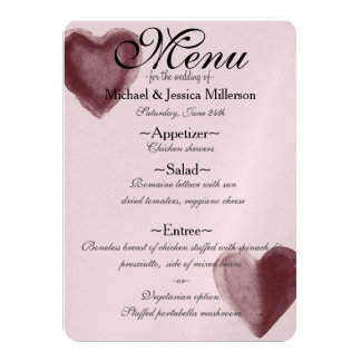 Red Watercolor Hearts Wedding Menu Card