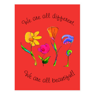 Red We Are All Different & Beautiful Diversity Postcard