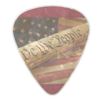 Red We the people Pearl Celluloid Guitar Pick
