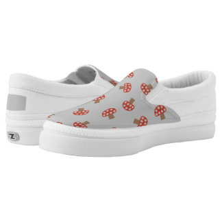 Red whimsical mushroom slip-on shoes
