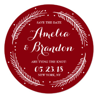 Red Whimsical Winter Wreath Save the Date Card