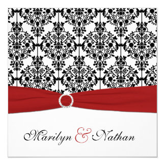 Red, White, and Black Damask Wedding Invitation