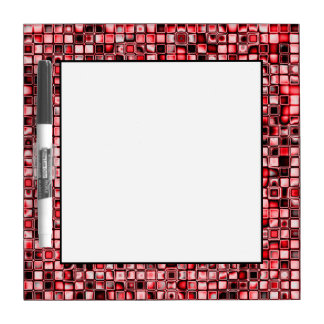 Red, White And Black Textured Grid Pattern Dry Erase Board